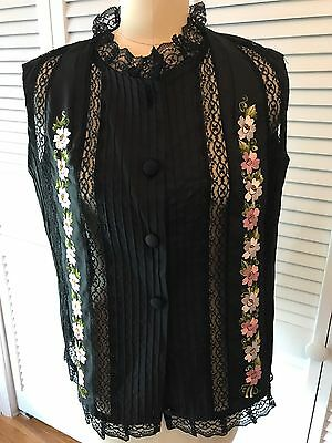 Vintage Lace Embroidered Blouse NoK Made In Merida Yucatán Mex Sz. 34