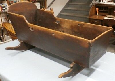 Antique Early 1800's Primitive Wooden Cradle - Dovetailed