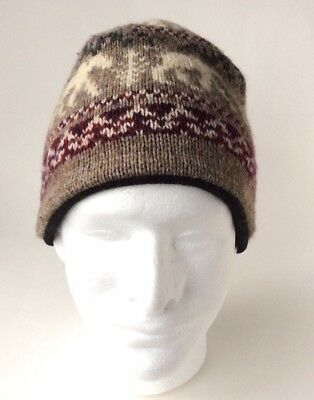 Lands  End Wool Blend Winter Beanie Hat - One Size- Moose - Made In eceb9e3723a1