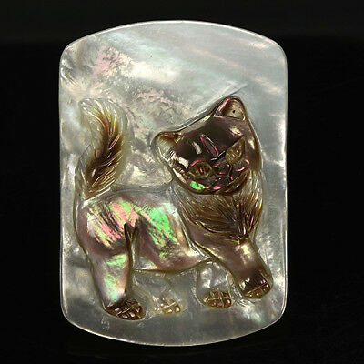 21.87Cts Amazing Work CAT CARVING Narural Mother Of Pearl Loose Gem Ref VIDEO
