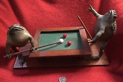 Vintage Taxidermy Snooker Playing Bullfrogs