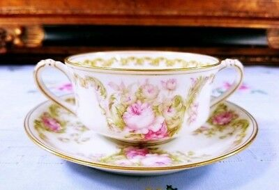 Haviland Limoges France Antique # 488-1 Pink Rose Cup and Saucer Set