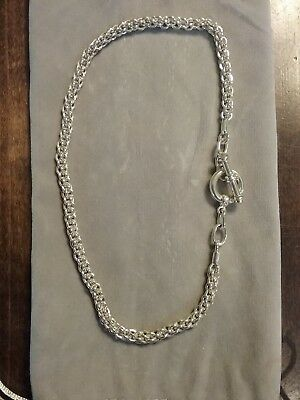 Toggle-clasp cable link Sterling silver necklace 925 heavy, 17 in.