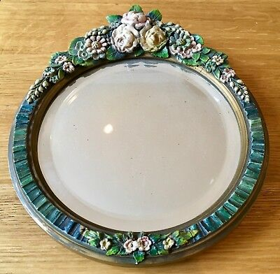 Small Art Deco Vintage Barbola Round Mirror Bevelled Free Standing Floral Roses