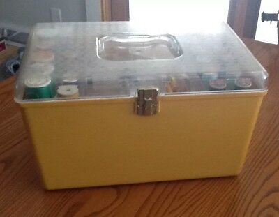 Vintage Wilson Wil- Hold Plastic Sewing Box 2 Tray Faux Basket  Notions contents