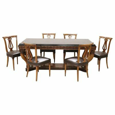 20th Century Italian Neoclassical Antique Style Walnut Carved Dining Table Set