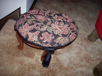 Vintage Heavy Sturdy Oval Shape Wood Foot Stool Rest Tapestry Fabric Seat