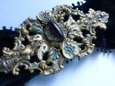 vtg VICTORIAN BUCKLE Enamel Cloisonne COLD FIRE PAINTED Jeweled / FREE SHIP US