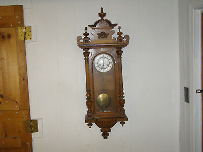 """Gustav Becker spring driven 36 """" tall wall clock, 8 day time and chime, not run"""