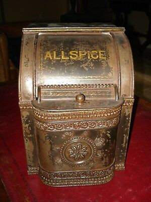 Antique General Country Store Allspice Advertising Spice Tin Bin Amazing!