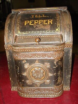 Antique General Country StoreTell PepperAdvertising Spice Tin Bin Amazing!