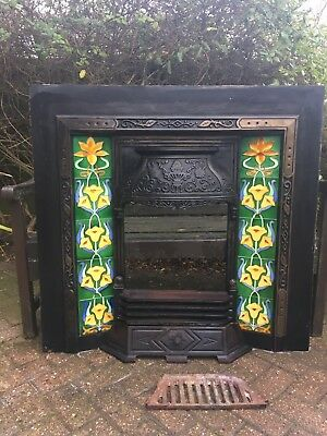 Traditional Style cast iron tiled fireplace surround Good Condition Tiles Good