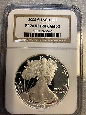 2006-W American Silver Eagle...1 Oz. .999 Fine...proof...ngc...pf 70 Ultra Cameo