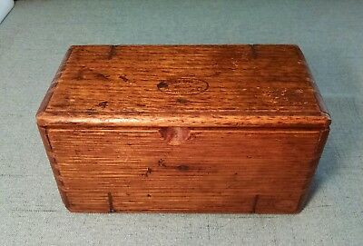 Antique Folding Oak Puzzle Box with Sewing Machine Accessory Parts