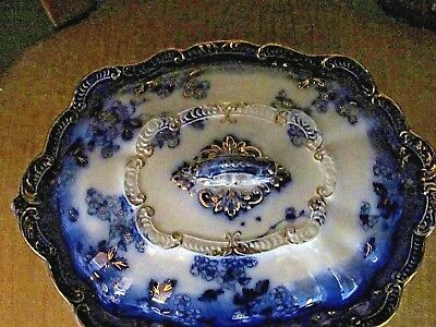 1900c> Exceptional  FLOW BLUE LIDDED TUREEN >Old Mark ENGLAND > GOLD HIGHLIGHTS