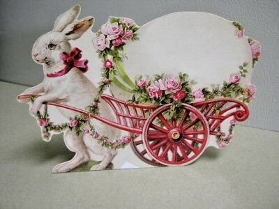Vintage Victorian Bunny with Cart Die Cut Standup Chromolithograph Reproduction