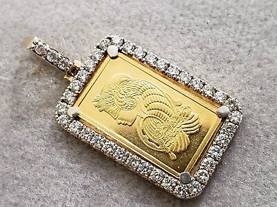 24K Yellow Gold 5G Lady Fortuna Bar Real 39 Diamonds Pendant