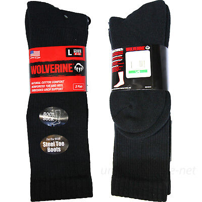 Wolverine Socks 2 Pair Boot Work Sock for use w/ Steel-toe Boots