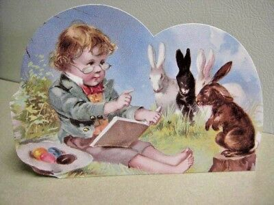 Vintage Victorian Boy & Bunnies Die Cut Standup Chromolithograph Reproduction
