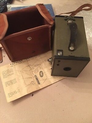 """Old Classic Kodak Camera """"Brownie"""" With Case And Instructions"""