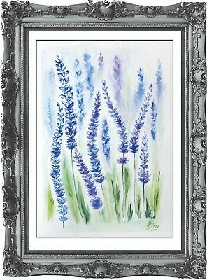 original drawing lavender flowers painting 46BA art watercolor signed A3