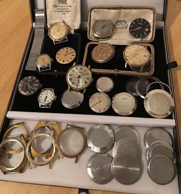 Job Lot Vintage Antique Watch Faces, Cases for Spares & Repairs Seiko, Sekonda