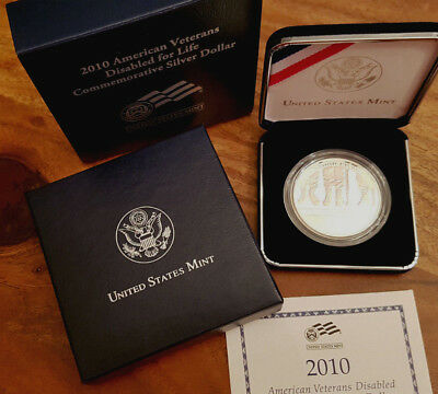 USA 2010 American Veterans Disabled for Life Proof Silber Dollar +CoA