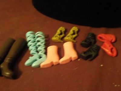 Nice Mixed Lot Of 69 Pr Barbie Shoes-  Black Boots, Blue Ballerina Shoes