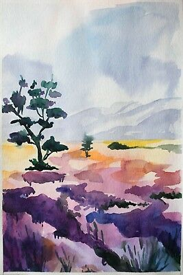 original painting field painting 2X art watercolor signed A3