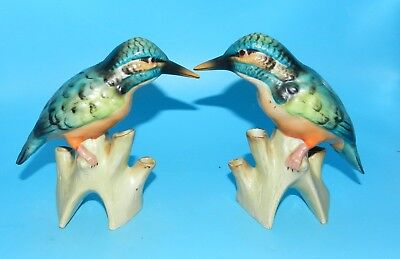 "2 Vintage Germany Signed Porcelain Sand Piper Bird Colorful 6"" Tall Figurines"