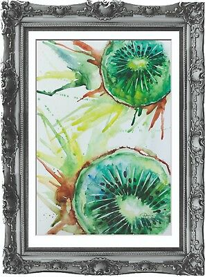 original drawing kiwi fruit painting 39MD art watercolor signed A3