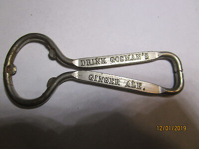 Vintage Advertising Bottle Opener Gosman'S Ginger Ale, Baltimore, Md