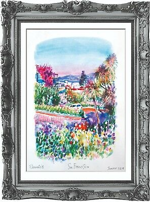 original painting San Francisco USA painting 267UV art watercolor signed A3