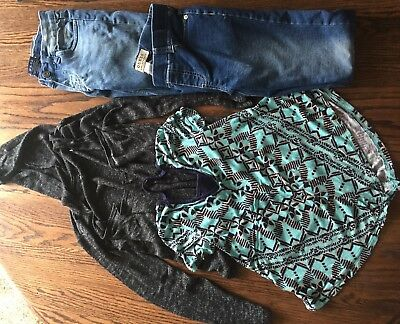 Lot Of Girls Size 8 Clothes Guess, Vigoss, Justice, Jeans X2, Shirt, Cardigan