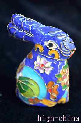 Collectable Chinese Ancient Cloisonne Carve Zodiac Rabbit Noble Fashion Statue
