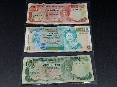 Lot Of 3 Circulated Banknotes Of Belize 1987 1990  Bl7A