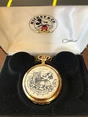 Steamboat Willie Disney Co mickey mouse pocket watch works fob box COLIBRI Japan