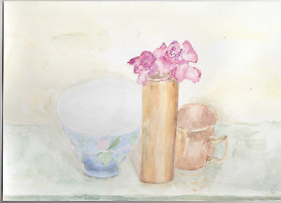 Original Painting Watercolor Still Life with Chinese bowl and two roses