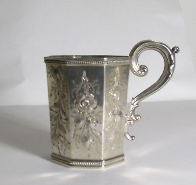 Antique Exquisitely Executed Coin Silver Cup