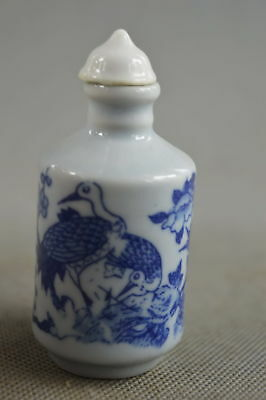 Collectable Porcelain Paint Crane Flower Wealthy Tibet Handwork Old Snuff Bottle