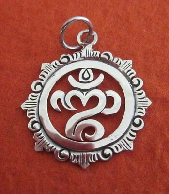 925 Sterling Silver OM Mantra Charm Amulet Pendant Handmade Ship From Bali #145k