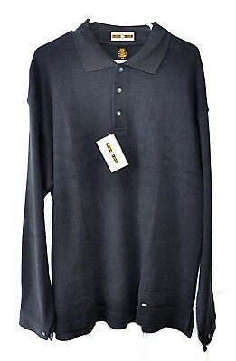 Men's North End Long Sleeve Charcoal Gray Cotton Pullover Polo Size XL ABC Logo