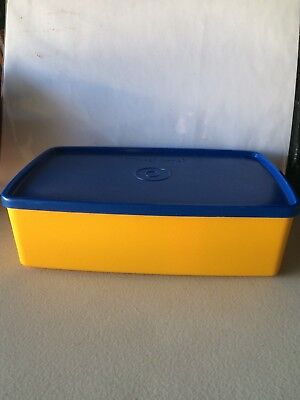 Retro Tupperware Storage container. Yellow/Blue Lunch Box