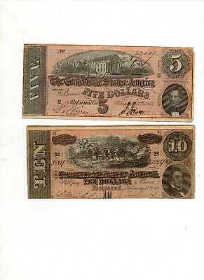 Two Confederate Bills from Uncles Estate. $5.00 & $10.00  Both 1864 Richmond..