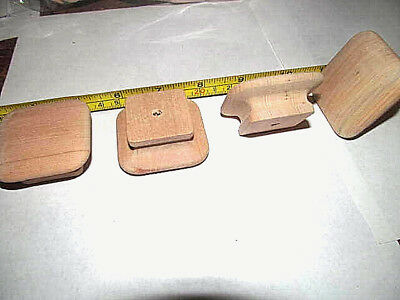 New Unfinished Maple Square  Wood Cabinet Knobs / Pulls Lot Of Two Kf