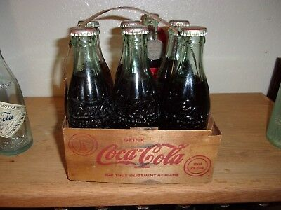 EARLY 1940s COCA COLA BALSA WOOD BOTTLE CARRIER w/ 6 full COCA COLA BOTTLES