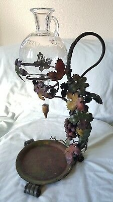Antique Cast Iron Wine And Bronze Stand With Decanter