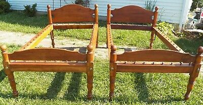 Pair Antique Rope Turned Post Beds 19th Century single size