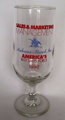 1992 Anheuser Busch Budweiser America's Best Sales Force Footed Awards Glass