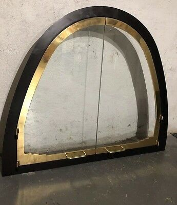 Quality Vintage Brass/Cast Iron Arched Fireplace Frame & Glass Door Excellent